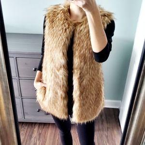 Zara Trafaluc Faux Fur Brown Vest